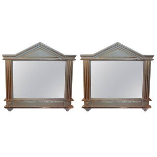 1920s Antique Italian Palladian Style Painted and Gilt Wood Mirrors- A Pair For Sale