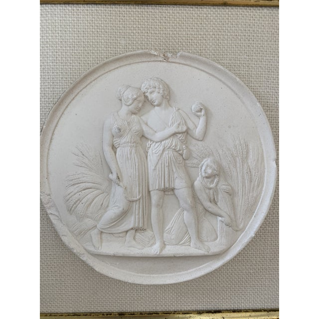 Wood Antique Plaster Intaglio Plaque Framed in Antique Walnut and Gilt Frames - a Pair For Sale - Image 7 of 13