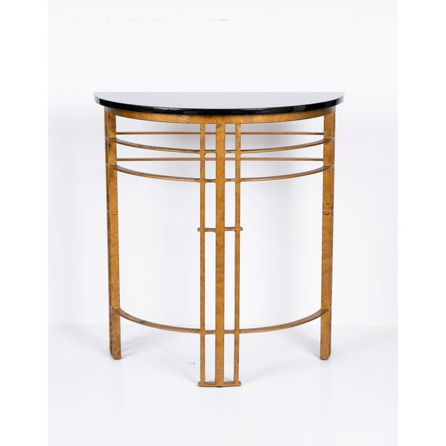 Late 20th Century 20th Century Art Deco Gilt Iron and Granite Demi Lune Consoles - a Pair For Sale - Image 5 of 10