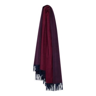 Arran Reversible Cashmere Throw, Navy Blue and Wine For Sale