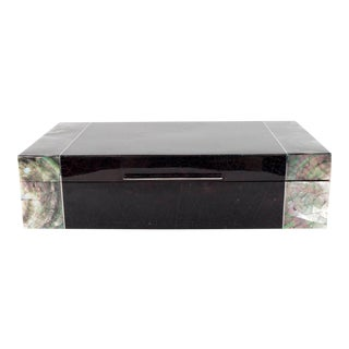 Exquisite Blacktab Shell Box with Tahiti Shell Ends and Silvered Inlay Trim