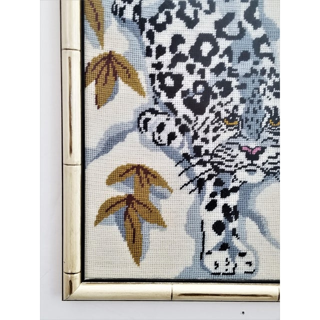 Vintage Chinese Snow Leopard Needlepoint With Faux Bamboo Frame -Signed 1976 - Asian Mid Century Modern Palm Beach Chic Animal Cheetah Tiger For Sale - Image 10 of 12