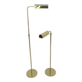 Polished Brass Adjustable Floor Lamps by Casella - a Pair For Sale