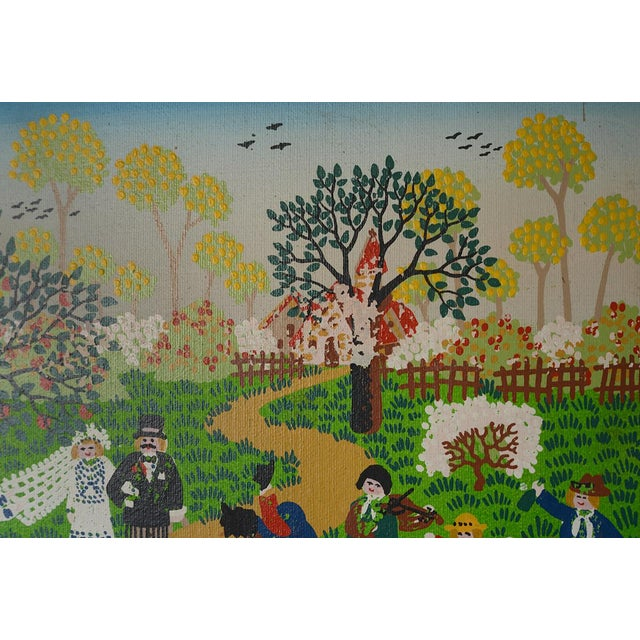 Canvas Modernist Celebratory Life Scene Paintings - a Pair For Sale - Image 7 of 9