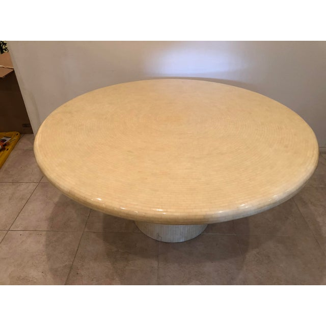Modern Modern Tessellated Bone Mosaic Round Dining Table For Sale - Image 3 of 11