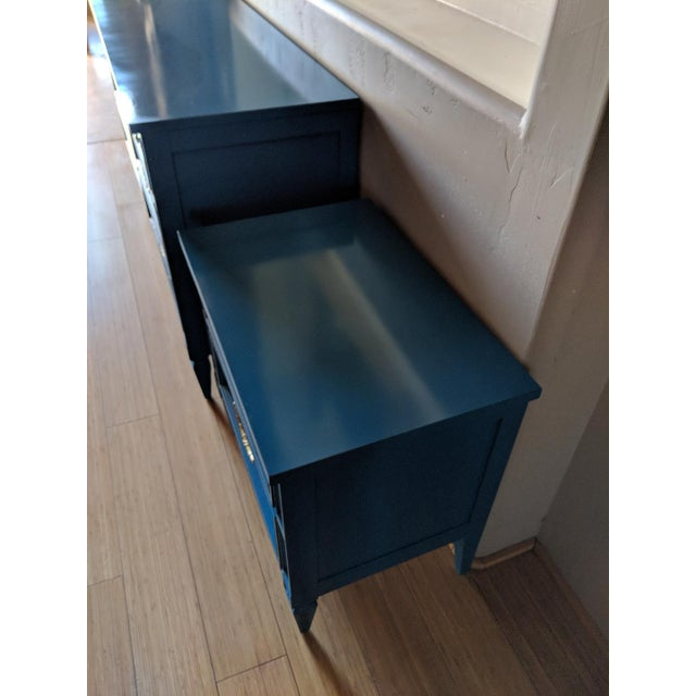 Oil Paint 1960s Italian Basic Witz Blue High Gloss Six-Drawer Dresser and Nightstand Set - 2 Pieces For Sale - Image 7 of 12