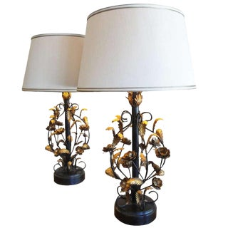 Italian Gilt Metal Floral Lamps For Sale