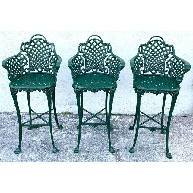 Victorian Style Garden/Patio Hightop Table and 3 Chairs, Provenance Celine Dion - Set of 4 For Sale - Image 4 of 11