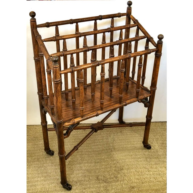 Faux Bamboo Canterbury Magazine/File/Lp Rolling Rack For Sale - Image 10 of 10