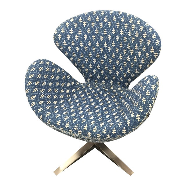 Blue Indian Kantha Swivel Tulip Chair - Image 1 of 11