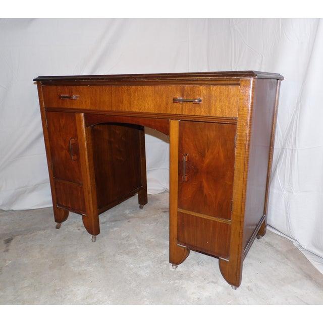 Antique Art Deco Walnut Office Desk Vanity 1930's For Sale - Image 4 of 13