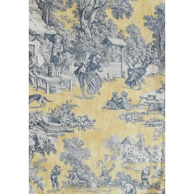 "Early 21st Century Custom French Country Farmhouse Toile Table Runner 110"" Long For Sale - Image 5 of 9"