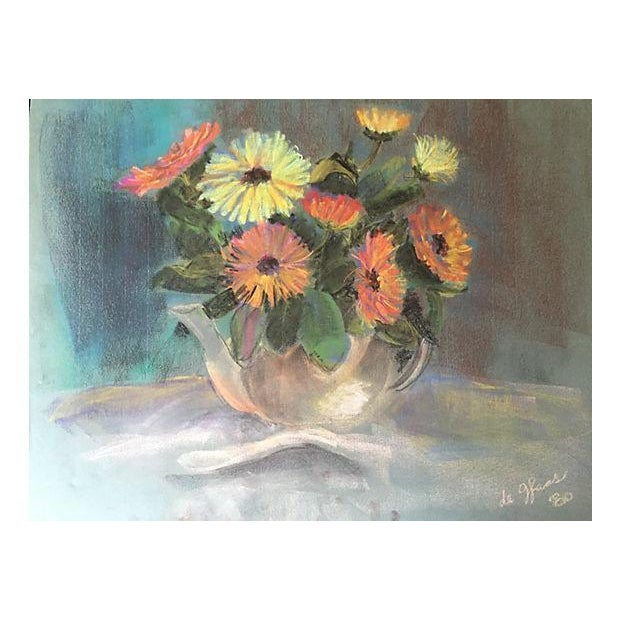 Original pastel still life of flowers and teapot by Eleanor De Haas, signed and dated lower right 1980. DeHaas studied at...