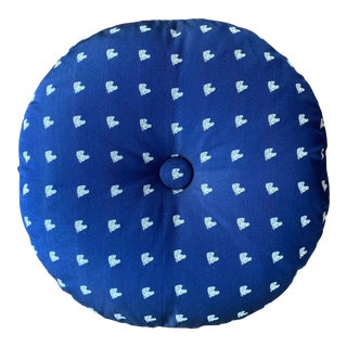 Silk Round Pillow With Button For Sale