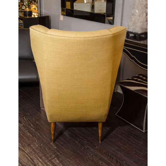 Yellow Custom Modernist Armchair and Ottoman For Sale - Image 8 of 10