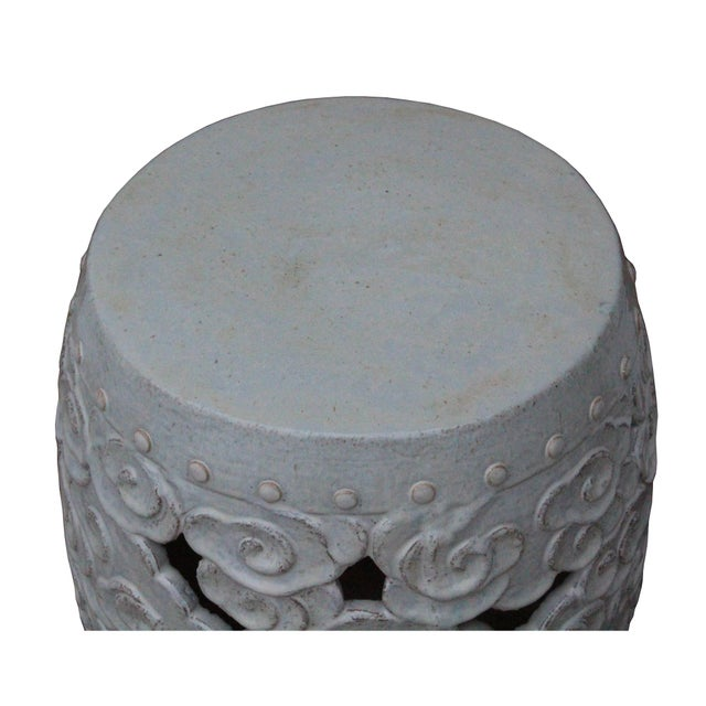 Ceramic Ceramic Clay Off White Glaze Round Scroll Pattern Garden Stool For Sale - Image 7 of 8