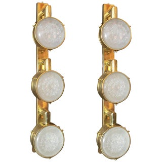 Italian Murano Frosted Glass on Brass Lens Sconces by Fabio Ltd - a Pair For Sale