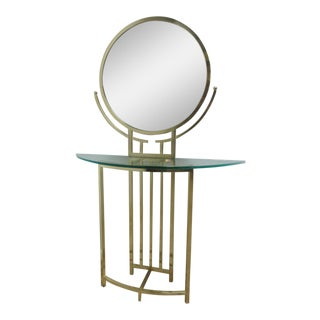 Milo Baughman Design Institute America Brass Console With Mirror For Sale
