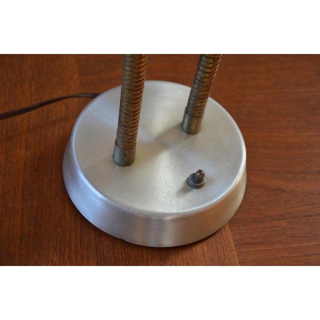 Industrial Mid-Century Double Gooseneck Desk Lamp For Sale - Image 3 of 10