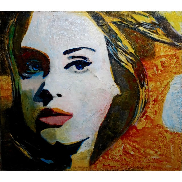"Sonia Gold -Portrait of Adele -Mix Media Painting Mixed Media & Oil on canvas -Signed size 35 x 38"" Artist Biography Sonia..."