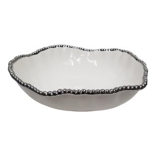 Oversized All Porcelain White With Silver Beading Salad Bowl For Sale