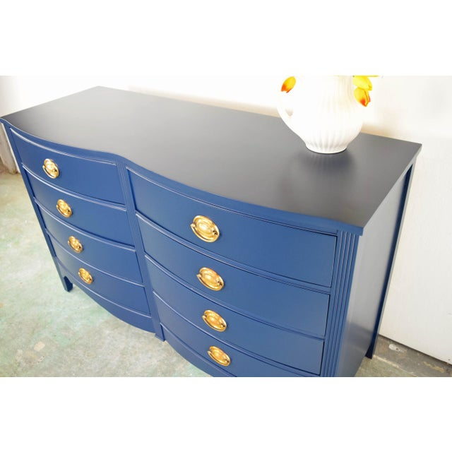 19th Century Boho Chic Bassett Navy Blue Lacquer and Gold Dresser For Sale - Image 9 of 11