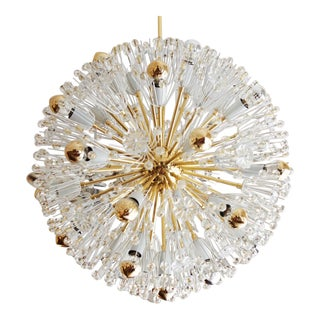 Large Austrian Brass & Glass Sputnik Chandelier by Emil Stejnar for Rupert Nikoll, 1955 For Sale
