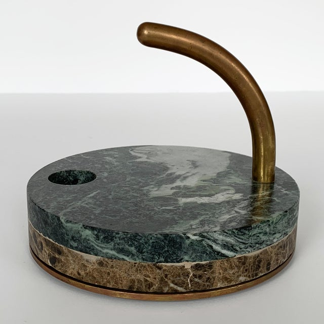 1980s Italian Modernist Marble and Bronze Candleholders - a Pair For Sale - Image 9 of 10
