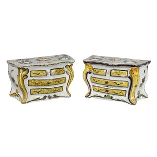 French Faience Bough Pots in the Form of Commodes -a Pair For Sale