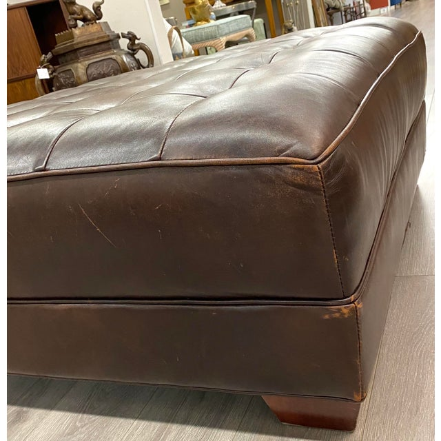 Contemporary Contemporary Lee Industries Large Brown Leather Square Ottoman Coffee Table For Sale - Image 3 of 9