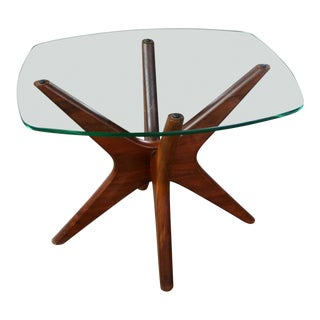 Adrian Pearsall Walnut and Glass Jacks Side Table Mid Century Modern For Sale