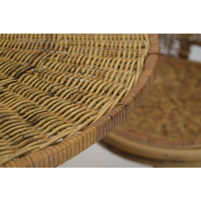 Franco Albini 1950s Wicker Rattan Dinette with Swivel Seats - 3 Pieces For Sale - Image 4 of 9