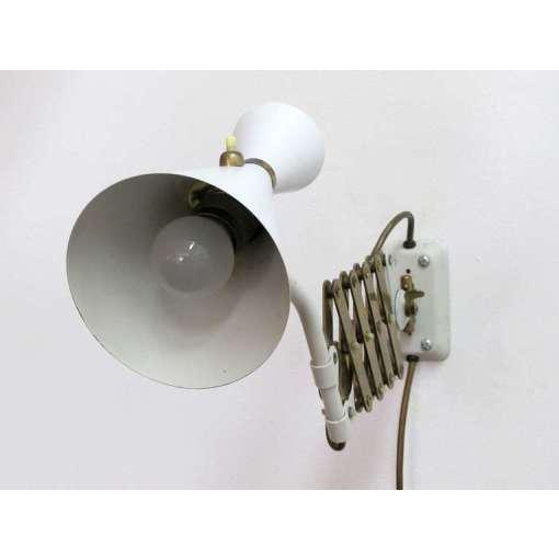 German White and Brass Scissor Lamp - Image 8 of 10