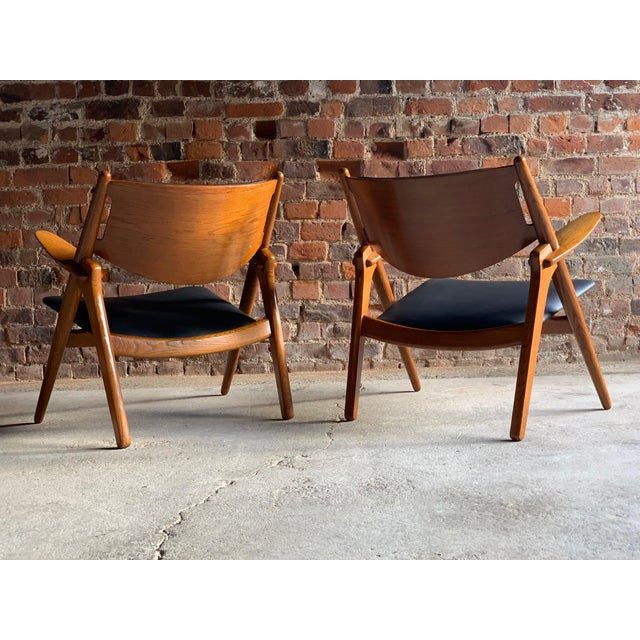 Hans Wegner Sawbuck Chairs Model CH-28 by Carl Hansen 1950s - A Pair For Sale - Image 10 of 13