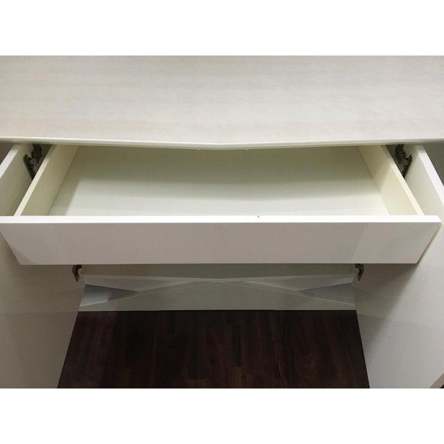Modern Ello Art Deco White Pearlescent Console Cabinet Credenza - Image 8 of 10