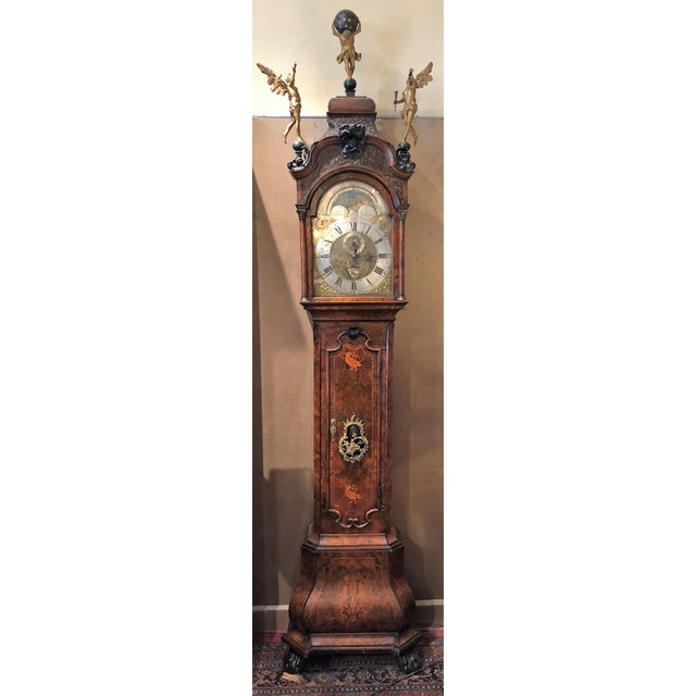 Mid 18th Century Antique 18th Century Dutch Marquetry Tall Case Clock by Maker, j.p. Kroese. For Sale - Image 5 of 5