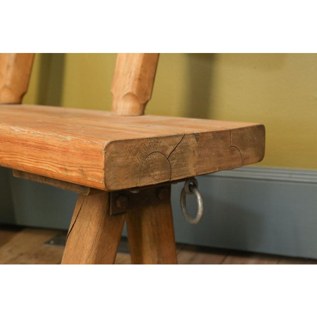 Belgian Chunky Oak Rustic Bench For Sale - Image 3 of 10