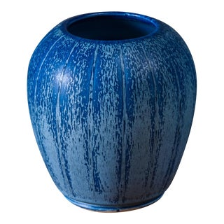 Eva Jancke-Bjork for Bo Fajans Blue Ceramic Vase, Sweden, 1940s For Sale
