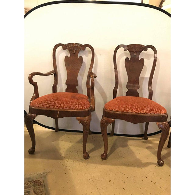 Queen Anne Set of Ten Queen Anne Style Dining Chairs, Pair of Arm and Eight Side Chairs For Sale - Image 3 of 11