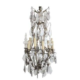 """19th Century Antique Baccarat Chandelier 12 Light 35"""" High For Sale"""