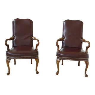 Burgundy Leather Queen Anne Library Chairs W. Tack Trim - a Pair For Sale