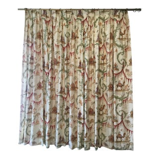 Pair of Wide Scalamandre Toile Chinoiserie Drapes - a Pair For Sale