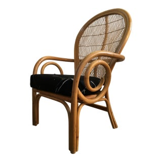 Vintage Mid-Century Bentwood Rattan Arm Chair For Sale