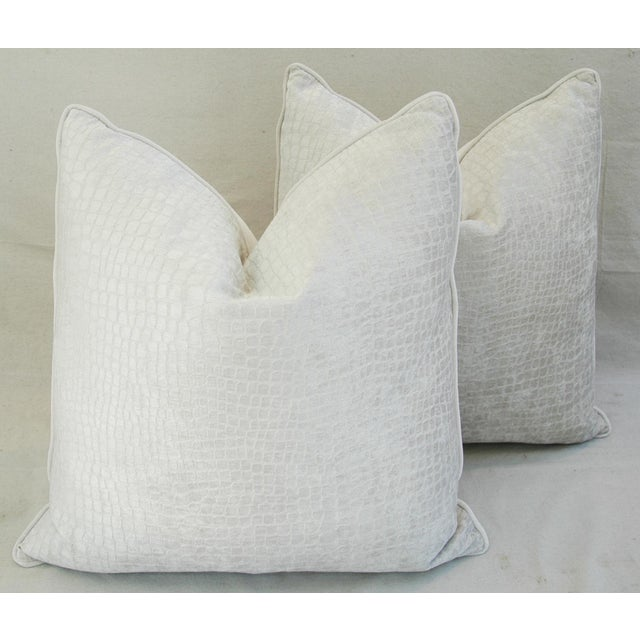 Large Custom Tailored Boho Chic White Crocodile Velvet Feather/Down Pillows - Pair - Image 6 of 11