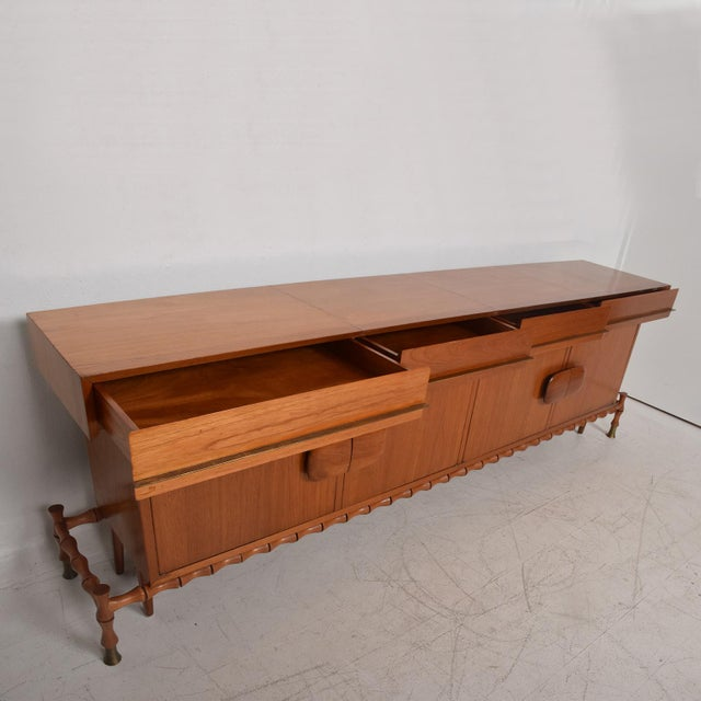 1960s Midcentury Mexican Modernist Floating Bamboo Credenza, Frank Kyle, 1960s For Sale - Image 5 of 12