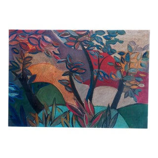 Mid 20th Century Cubist Style Landscape Oil Painting For Sale