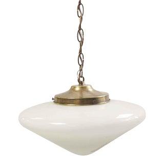 Restored Cone Shaped Milk Glass Globe Pendant Light For Sale
