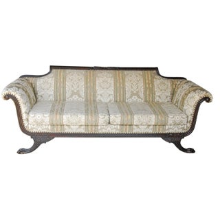 Antique 1860 Philadelphia Federal Couch Duncan Phyfe Mahogany Empire Clawfoot Sofa For Sale