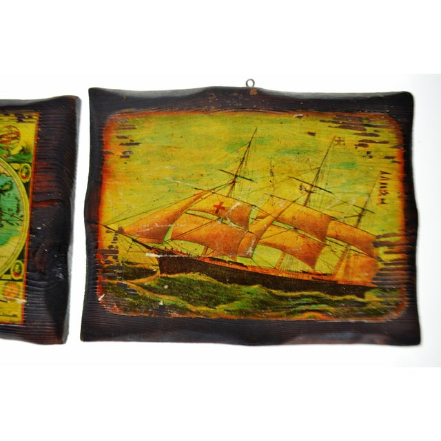 Mid-Century Modern Vintage Carved Wood Decoupage Wall Art Plaques - Group of 8 For Sale - Image 3 of 11