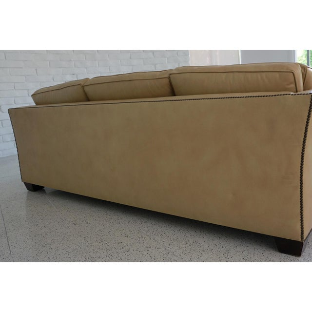 Traditional Light Camel Leather Sleeper Sofa For Sale - Image 4 of 11